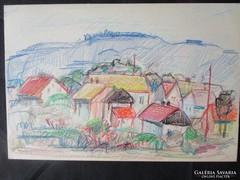 MOSSHAMMER GYÖRGY  festmény MECSEKI FALÚ II.1949
