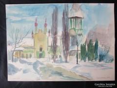 MOSSHAMMER GYÖRGY Jelzett festmény BUDAPEST VIDÁMPARK 1953