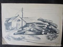 MOSSHAMMER GYÖRGY jelzett festmény kép FATELEP 1965