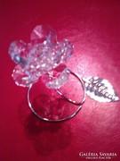 Swarovski kristályos csodaszép rózsa ródiumozott NÉV ÉS SZÜLETÉS NAPRA! BALLAGÁSRA!