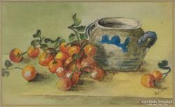 0E901 Régi jelzett asztali csendélet akvarell