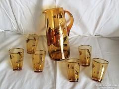 Bohémia üveg kancsó 6 db pohárral - új