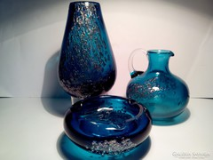 Különleges buborékos dísz művész üveg készlet 3 darab együtt váza, kiöntő, hamuzó