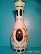 Bieder üveg váza és hamuzó hamutál hamutartó