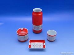 0B608 Retro piros Hollóházi porcelán készlet 4 db