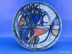 0B879 Nagyméretű retro dupla halas kerámia tál