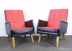 0E221 Retro piros - fekete klubfotel pár