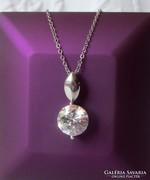 Brill csiszolású szint. gyémánt medál + lánc