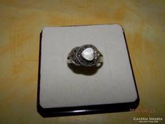 Antik markazit köves ezüst gyűrű