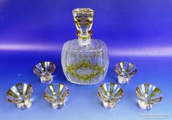 0D946 Antik 6 személyes üveg pálinkás készlet