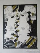 SZÁSZ ENDRE festmény - vázlat szignózott HOLLÓHÁZA