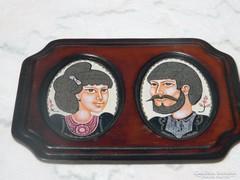 STEFANIAY EDIT tűzzománc kép bőrkeretben : Házaspár