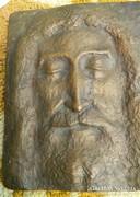 Jézus : bronz plakett - falikép - súlyos darab! 26cm * 21 cm
