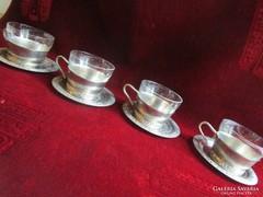ART DECO üveg betétes fém teás csésze aljjal 4 db