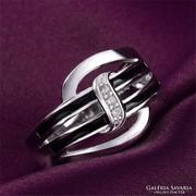 Fekete mintás 925 ezüstözött gyűrű 7-es ÚJ!