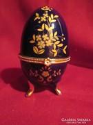 Fém záras aranyozott porcelán ékszertartó      0510