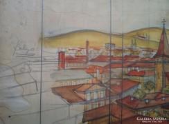 """Upor Tibor./ Földes Imre """" Égő város"""" díszletterv.1928"""
