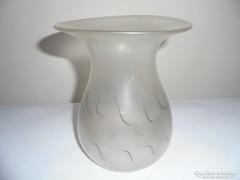 Antik üveg váza - homályos, festett mintás