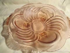 Rózsaszín  öntött üveg kínáló tál 30 cm  05255