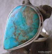 925 ezüst gyűrű, 18,7/58,7 mm, kék türkizzel