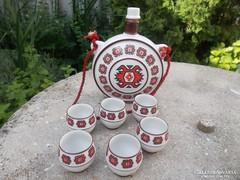 Porcelán, kulacs és 6 db pohár