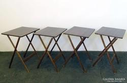 0G486 Régi amerikai összecsukható asztal szett 4db