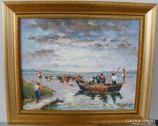 BAUKÓ JÁNOS Halászok csónakokkal