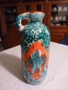 Iparművészeti kék-vörös kerámia váza