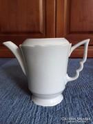 Zsolnay régi, fehér, manófüles kávés kanna, kiöntő (29)
