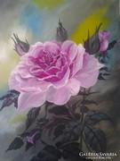 Rózsaszín rózsaszál ,csendélet, festmény