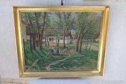 Jánossy Gyula festmény 1914-ből ,falusi életkép 65 x 90