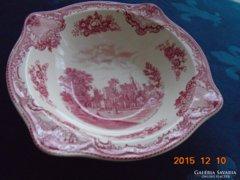 Kastélyos,mély angol pink tál-21,5x21,5x6 cm