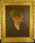 G101 Jelzett régi olajkép bajszos paraszt portré