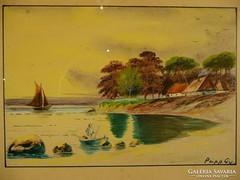 G109 Régi akvarell Vitorláshajó Papp Gy. szignó