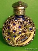 Antik parfümös kőlnis üveg réz diszítéssel