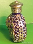 Antik parfümös kölnis üveg réz diszítéssel