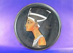 0F892 Egyiptomi Ehnaton fáraó réz falidísz tál