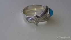 Érdekes szép ezüst gyűrű kék kővel