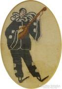 0H322 Antik mandolinozó Pierrot tűgoblein