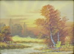 0G674 Keretezett akvarell őszi tájkép patakpart