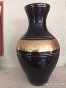 Fekete-arany üveg váza - black - gold glass vase