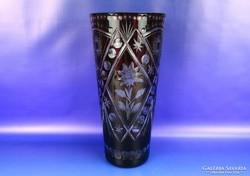 0H376 Régi nagyméretű bordó csiszolt üveg váza
