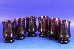 0D945 Bordó csiszolt pálinkás pohár készlet 6 db