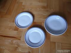 Zsolnay tányér szett 3 db, Retro kék mintás Zsolnay tányérok
