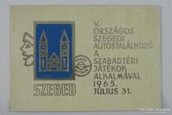 0H065 Szegedi országos autóstalálkozó plakett 1965