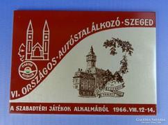 0H067 Szegedi országos autóstalálkozó plakett 1966