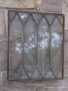 Ólomüveg ablak-falikép réz keretben antik db