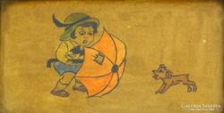 0H126 Régi Hummel stílusú naív festmény keretben