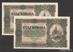 20 korona 1920. (2 db sorsz.k., sorszám közt pont)!  UNC!