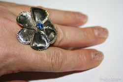 Gigantikus 14k fehérarany gyűrű égkék zafírral 14 gm